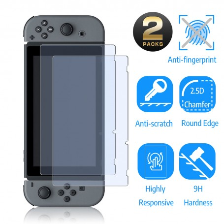 DDP Nintendo Switch Console Tempered Glass 2 Pack Full Screen 9H Protector Film Cover Clear