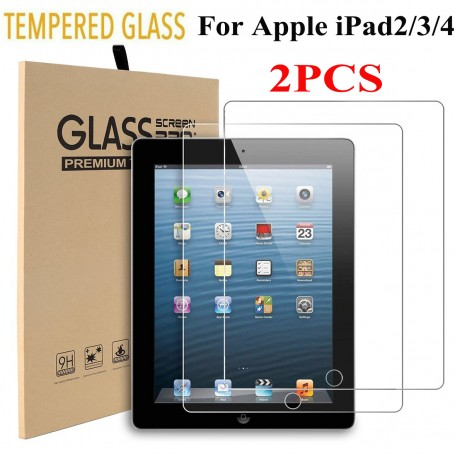 DDP 2X Genuine Premium 9H Tempered Glass Film Screen Protector For Apple iPad 2/3/4