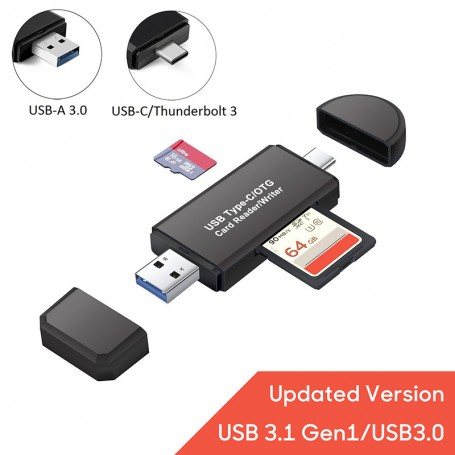DDP Type C USB 3.0 SD TF Memory Card Reader OTG Adapter For SDHC RS MMC Micro SDXC T-Flash