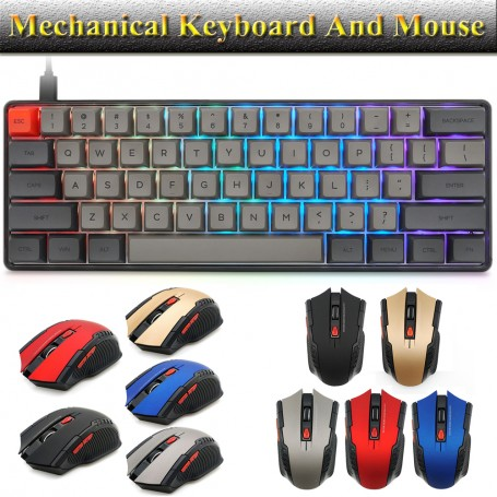 DDP Mechanical Gaming Keyboard and Mouse Set RGB LED Backlit Linear Waterproof Wired