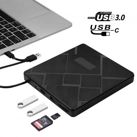 DDP USB 3.0 USB-C External Slim Drive CD RW DVD ROM Burner Player Rewriter For Laptop PC MAC