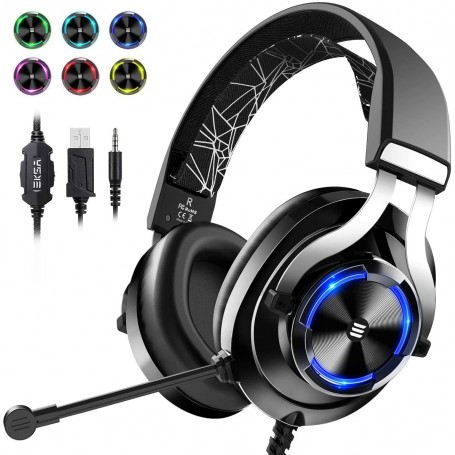 EKSA Gaming Headset PS4 Xbox One Headset with Noise Cancelling Mic & RGB Light - Gaming Headphones for PC, Laptop, Xbox One Controller (Adapter Not Included), Playstation 4, Nintendo Switch, Black