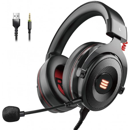 EKSA E900 pro Gaming Headset Xbox One Headset with 7.1 Surround Sound, PS4 Headset Noise Cancelling Over Ear Headphones with Mic&LED Light, Compatible with PC, PS4, Xbox One Controller, Nintendo Switch