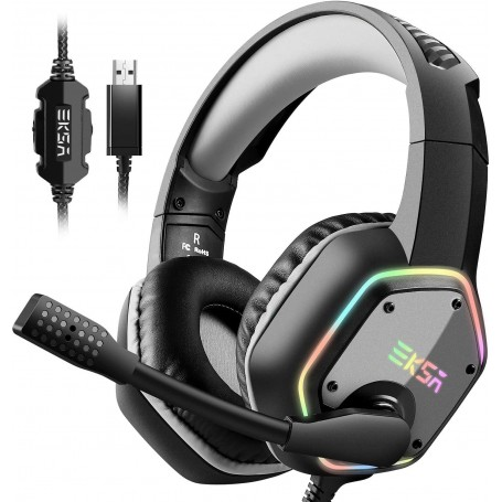 EKSA USB Gaming Headset, 7.1 Surround Stereo Sound, PS4 PC USB Gaming Headphones with Noise Canceling Mic & RGB Light Over Ear Headphones, Compatible with PC, PS4 Console (Gray)