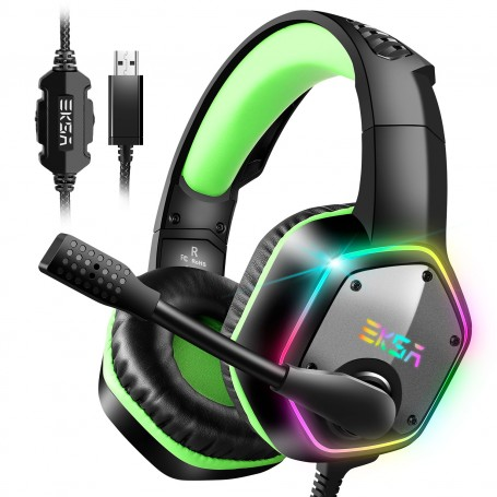 EKSA USB Gaming Headset, 7.1 Surround Stereo Sound, PS4 PC USB Gaming Headphones with Noise Canceling Mic & RGB Light Over Ear Headphones, Compatible with PC, PS4 Console (Green)