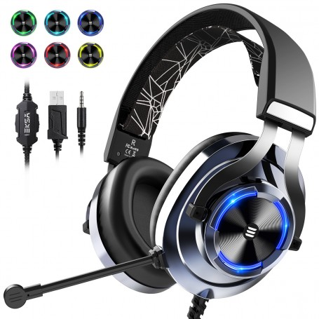 EKSA Gaming Headset PS4 Xbox One Headset with Noise Cancelling Mic & RGB Light - Gaming Headphones for PC, Laptop, Xbox One Controller (Adapter Not Included), Playstation 4, Nintendo Switch(Blue)
