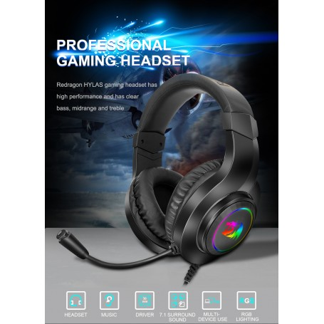 Redragon HYLAS H260 RGB gaming Headphone,3.5mm Surround sound Computer headset Earphones Microphone for PS4 Switch Xbox-one