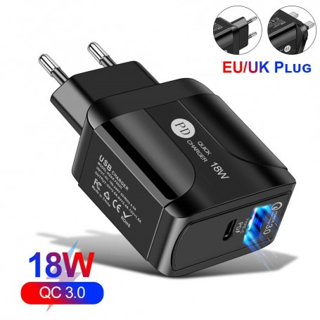 Charger QC3.0 3A PD 18W LED Portable Wall Charger Fast Adapter