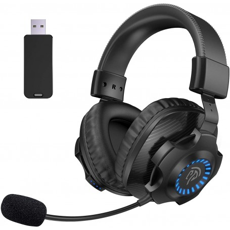 EasySMX 2.4G Wireless Gaming Headset, Wireless Stereo Over-Ear Gaming Headphones V07W with Microphone, RGB and Volume Control, Suitable for PC/MAC/PS4/PS5