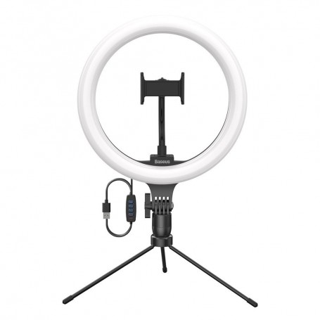 Baseus photo ring flash fill light LED lamp 10'' for smartphone with mini desk tripod black for live streaming + Joyroom wireless Qi charger 15 W