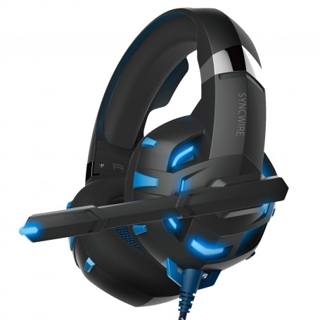 Syncwire Gaming Headset, Gaming Headphones with Mic for PS4, PC, Xbox One, Laptop, Phones, Noise Cancelling Over Ear Headphones with LED Light