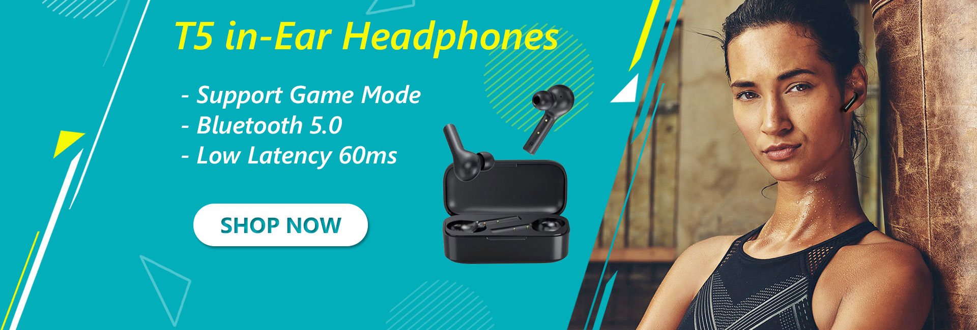 T5 in-Ear Headphones with Game Mode, Low Latency 60ms
